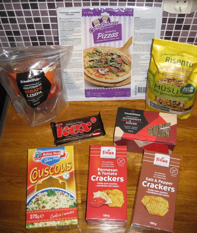 Some gluten-free goodies from Hemköp grocery store in Stockholm. Located at Åhlens department store basement.
