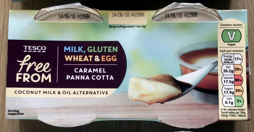 Tesco Free From Caramel Panna Cotta 2 kpl / 240 g